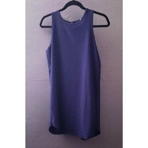 Monteau Navy Mini Dress with draping on the back
